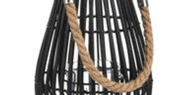 Small Domed Rattan Lantern With Rope Detail
