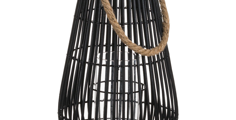 Medium Domed Rattan Lantern With Rope Detail