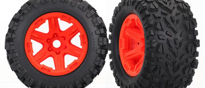Traxxas Tires & wheels, assembled, glued (orange Carbide wheels,