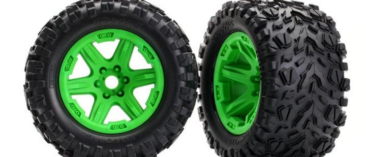 Traxxas Tires & wheels, assembled, glued (green Carbide wheels,