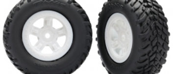Traxxas Tires and wheels, assembled, glued (SCT white wheels,
