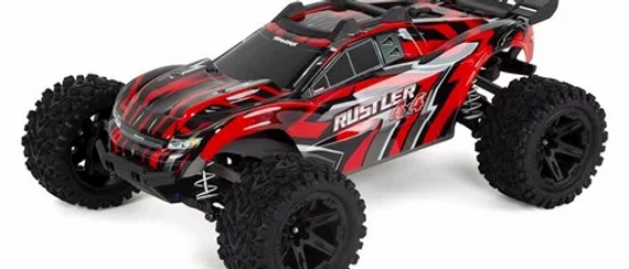 TRA67064-RED Traxxas Rustler 4X4 1/10 4WD Stadium Truck RTR rouge