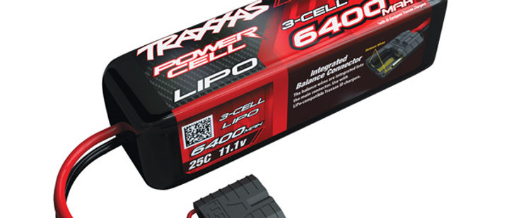 TRA2857X Traxxas 6400mAh 3S 11.1V 25C LiPo iD Connector Soft Case 135x42x45mm