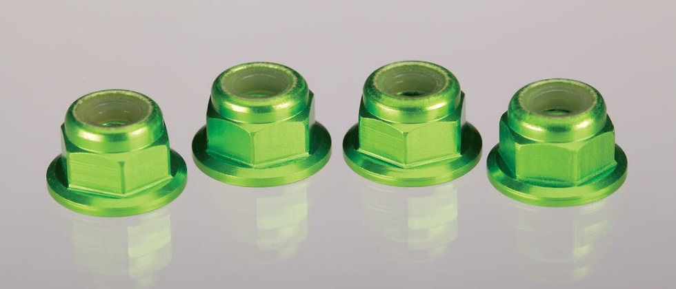 TRA1747G Traxxas 4mm Aluminum Flanged Serrated Nuts (Green) (4)