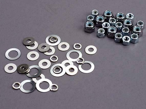 TRA1252 Traxxas Nut Set, Lock Nuts (3mm (11) And 4mm(7)) & Washer Set
