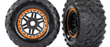 TRA8972A Traxxas Tires & wheels, assembled, glued (black, orange beadlock