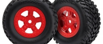 Traxxas Tires and wheels, assembled, glued (SCT red wheels,