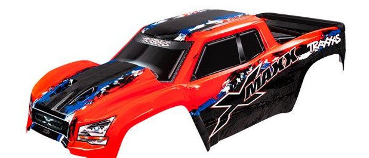 TRA7811R  X-MAXX body peint et couper  avec attaches (rouge X)