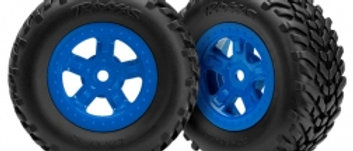 Traxxas Tires and wheels, assembled, glued (SCT blue wheels,