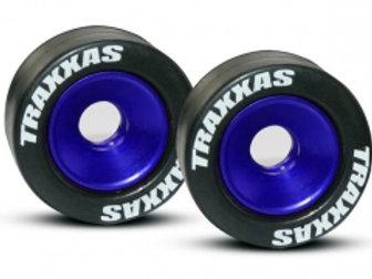 TRA5186A Wheels, aluminum (blue-anodized) (2)/ 5x8mm ball bearings (4)/ axles (2
