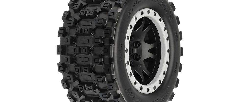 PRO10131 Badlands MX43 ProLoc Mounted, Impulse Black Wheels Grey Rings 2: X-Maxx
