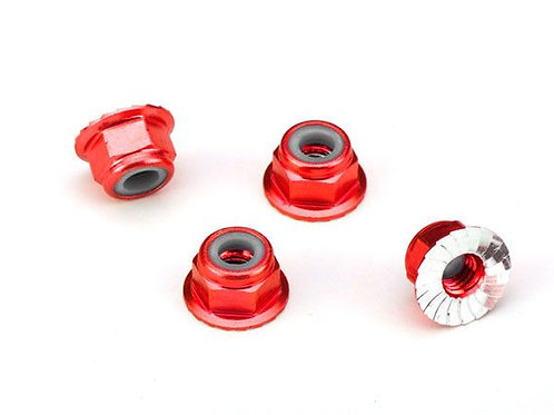 TRA1747A Traxxas 4mm Aluminum Flanged Serrated Nuts (Red) (4)