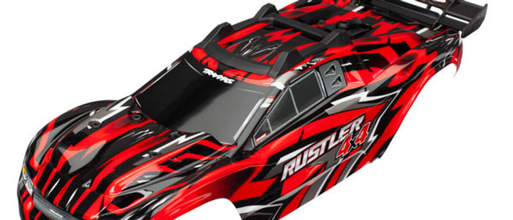 TRA6718 Traxxas Body, Rustler 4X4, red/ window, grill, lights decal