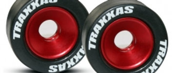 TRA5186 Wheels, aluminum (red-anodized) (2)/ 5x8mm ball bearings (4)/ axles (2)/