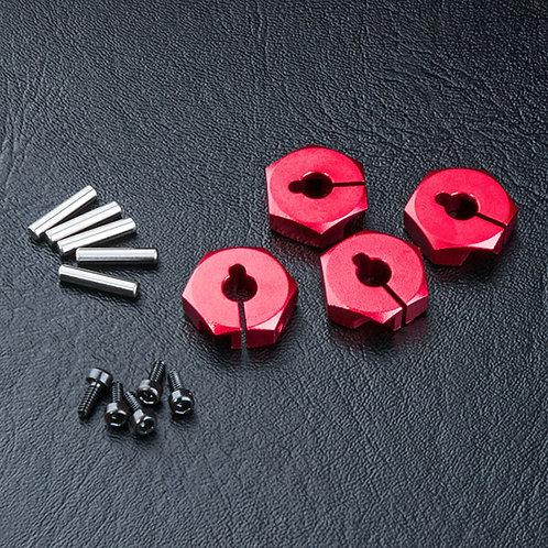 820044R Alum. hex. wheel hubs 4mm (rouge) (4)