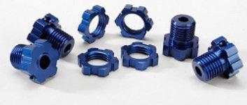 TRA5353X Wheel hubs, splined, 17mm (blue-anodized) (4)/ wheel nuts, splined, 17m