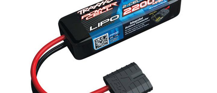 TRA2820X  Traxxas 2200mAh 2S 7.4V 25C LiPo iD Connector Soft Case 88x21x30mm