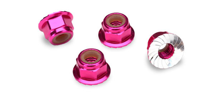 TRA1747P Traxxas Nuts, 4mm aluminum, flanged, serrated (pink-anodized) (10)