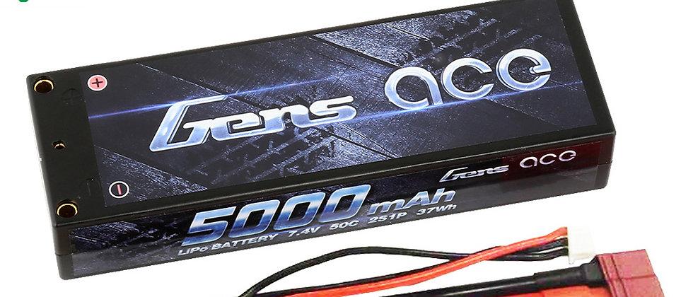 Gens Ace 5000mAh 2S1P 7.4V 50C LiPo 4.0mm Bullets Hard Case