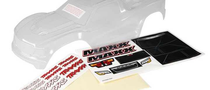 Traxxas Body, Maxx (clear, untrimmed, requires painting)/ window masks/ decal sh