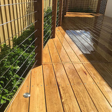 Large Blackbutt Decking finished at our
