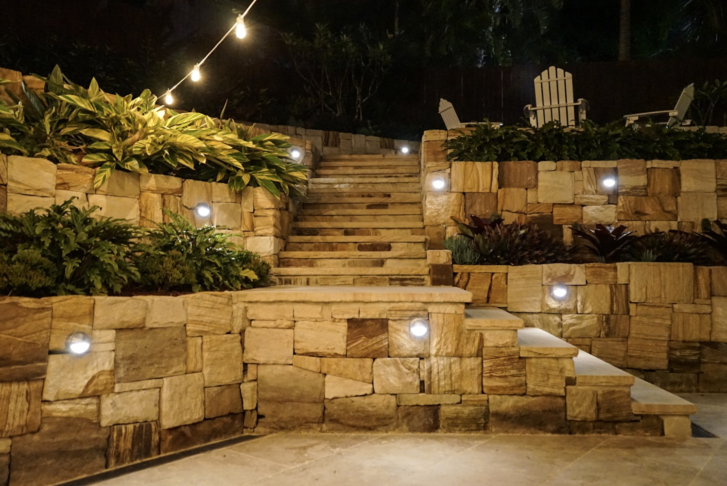 Sandstone Retaining Walls and Stairs