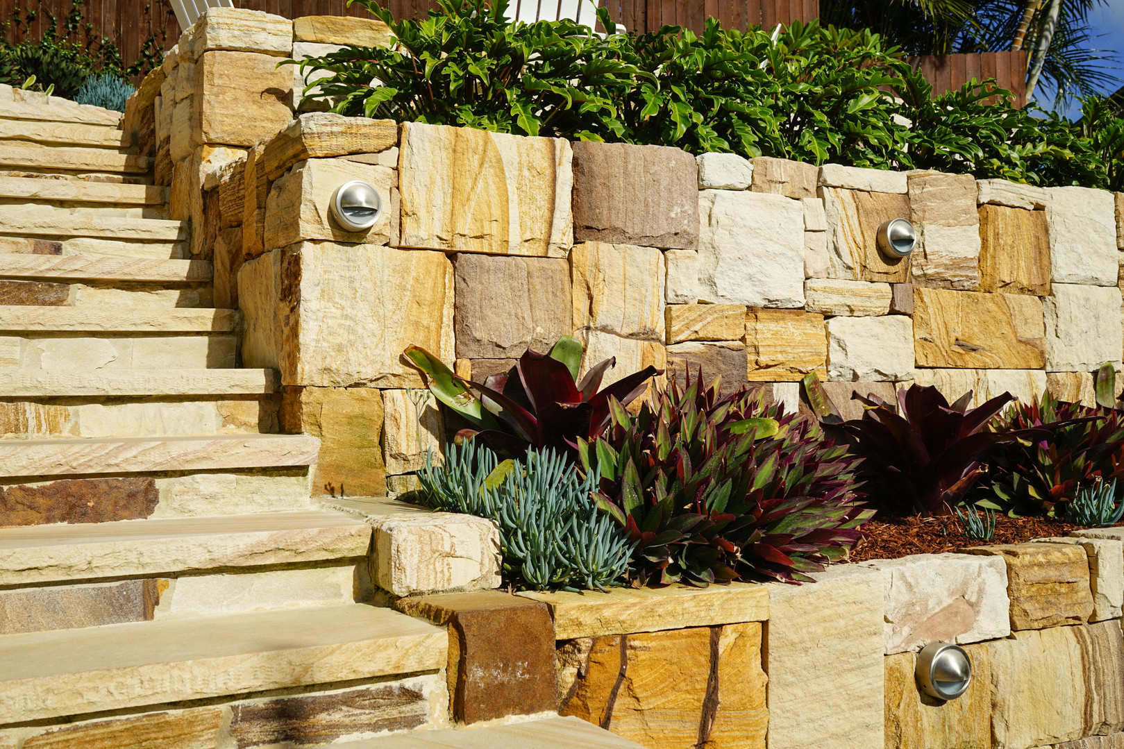 Sandstone retaining wall and stairs