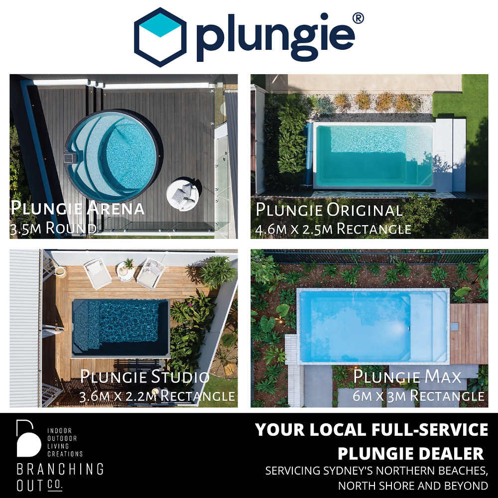 The range of pools available from Plungie that Branching Out Co. can install in the Sydney Metro area
