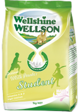 WellshineWELLSON instant student fortified whole milk powder. Best milk full cream dairy Australia. Milk fortified with vitamins and DHA