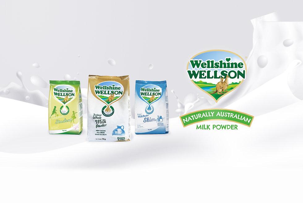 Wellshine Wellson milk powder range, whole, skim and student. Naturally Australian milk powders