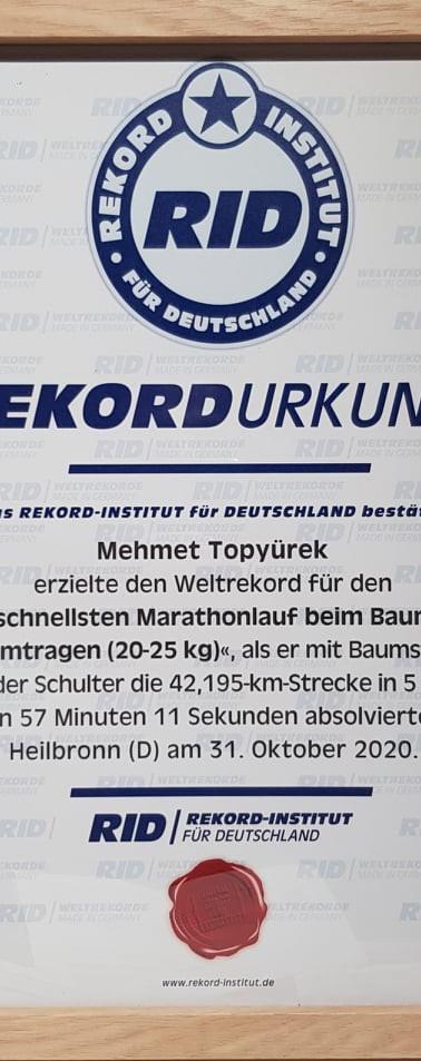 Weltrekord Urkunde von RID