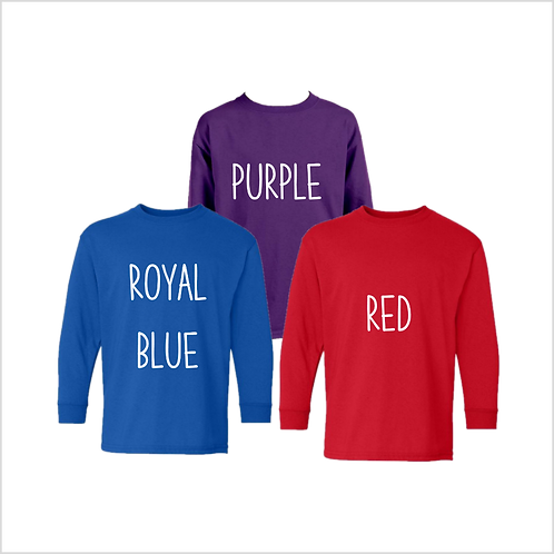 Youth Long Sleeve Shirt, Colors