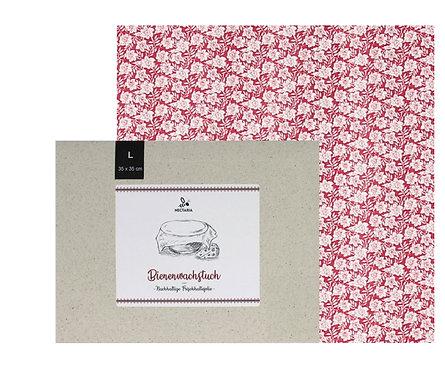 """Bienenwachstuch """"L"""" (35x35 cm - Rosen)"""