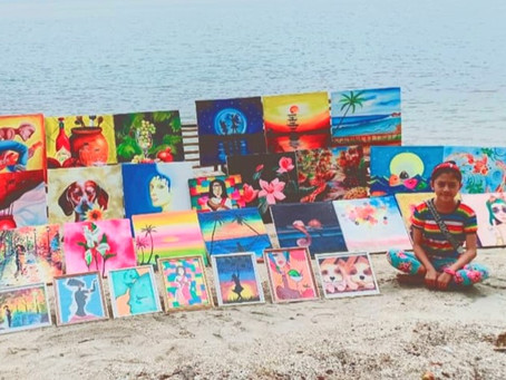 Girl with leukemia sells her paintings for cancer treatments