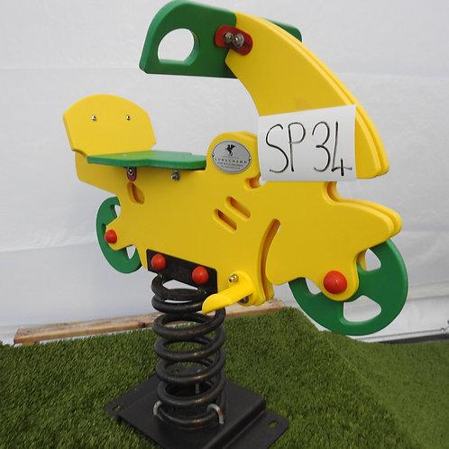 Yellow and Green Motorbike Spring Rocker