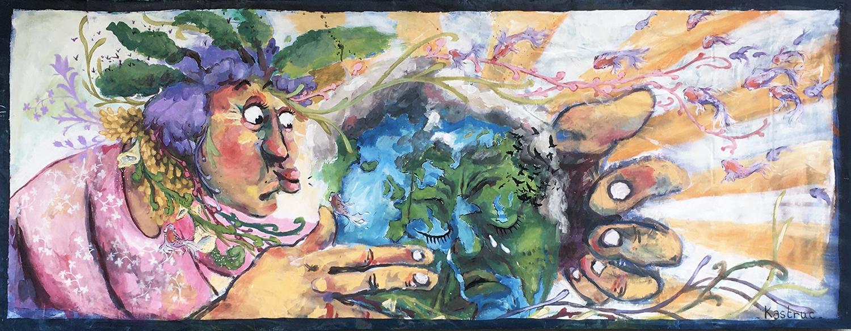 Earthcry, 3/1m, acrylique sur toile, Lyon 2020