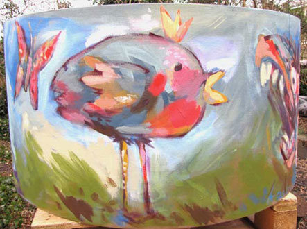 Painting on geant lamp shade