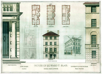 Analytical Watercolor of the House of Edward T. Blair Designed by McKim, Mead, and White