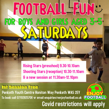 We've added another session to our Football Superstars 3-5 year olds, Shooting Stars group.
