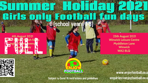 Girls only Football Fun day 4th August is full
