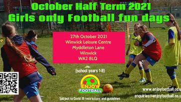 Girls Only October 21 Half term Football Fun day