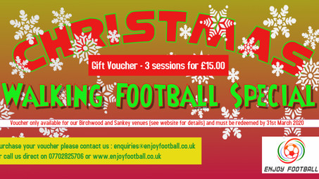 WALKING FOOTBALL CHRISTMAS GIFT VOUCHERS
