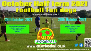 October 21 Half Term Holiday Football Fun days
