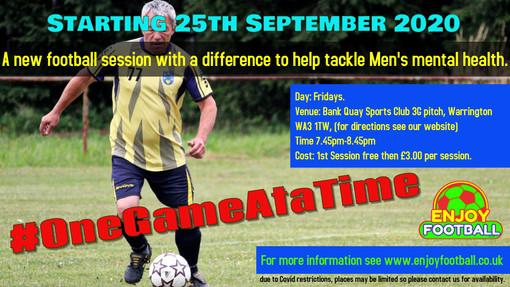 New Men's Mental Health Football Session in Warrington #OneGameAtaTime