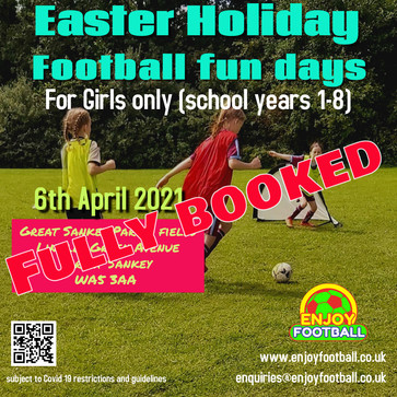 Girl' only Football Fun Day 6th April 2021 now fully booked