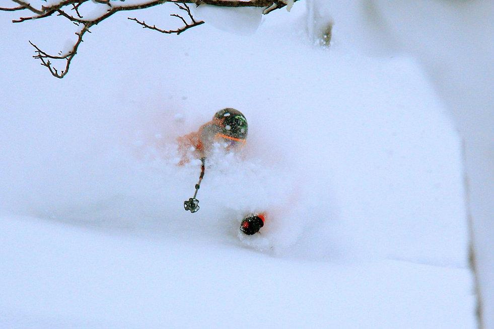 Freeride skiing in central Hokkaido, Japan