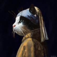 Cat with pearl earring