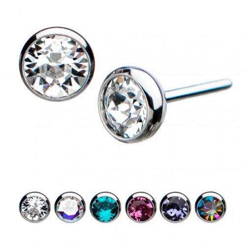 Titanium Threadless Clear Swarovski Crystal