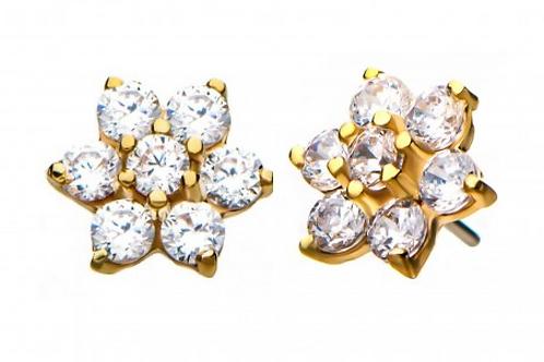 14kt Yellow Gold Threadless 7-CZ Gems Top