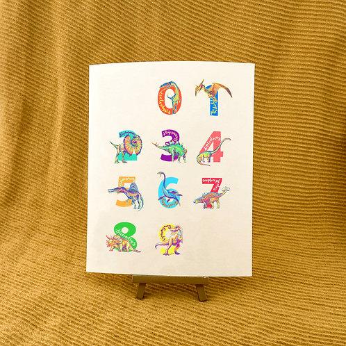 Dinosaur Numbers Giclée Art Print
